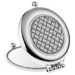 菱格紋晶燦銀圓形隨身鏡(銀)
