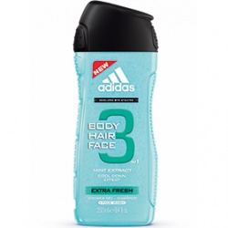 adidas 愛迪達 三效合一潔顏洗髮沐浴露系列-男用三效清爽潔顏洗髮沐浴露 Extra Fresh 3 in 1 Shower Gel
